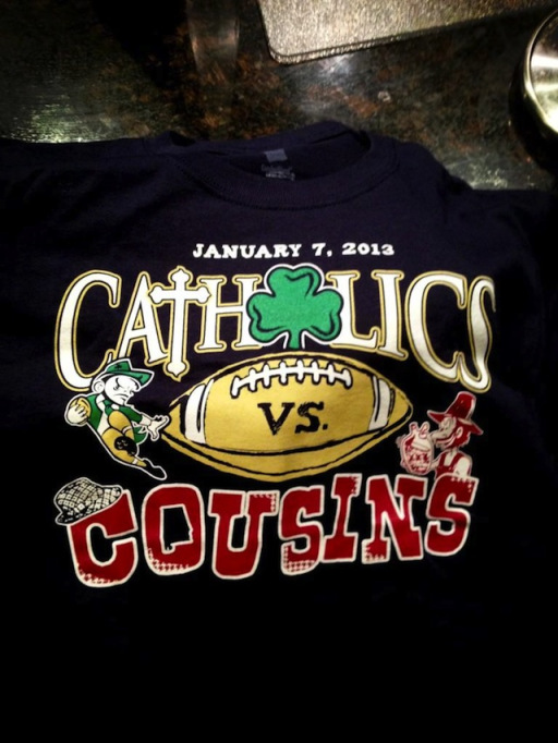 clausen catholic vs cousins t shirt